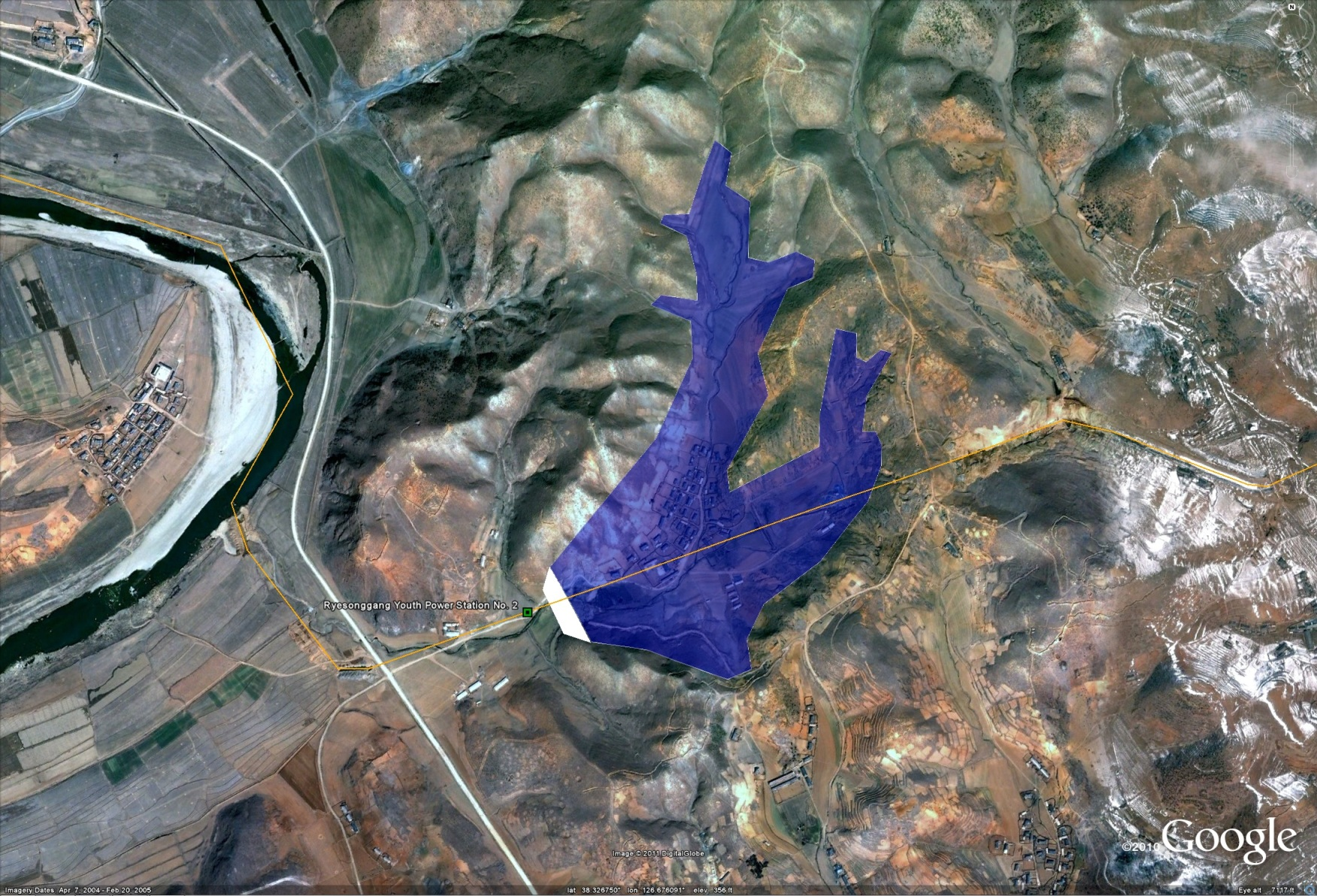 i previously wrote about the ryesonggang power station no 2 here since a newer satellite image has come to my attention that shows the project completed